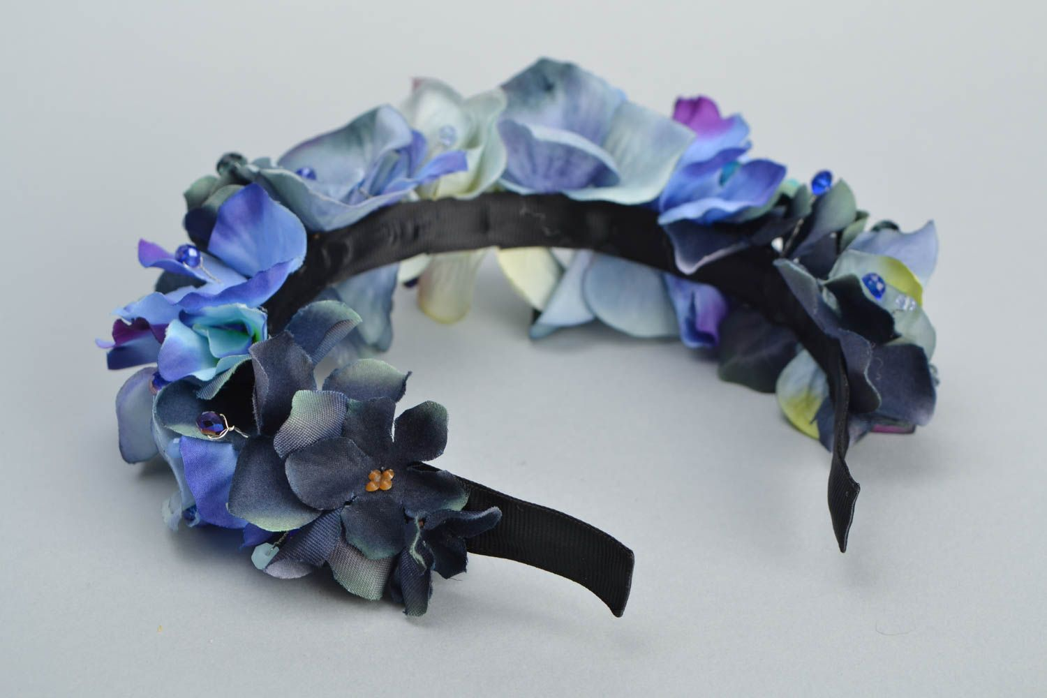 Headband with artificial flowers Violets photo 5