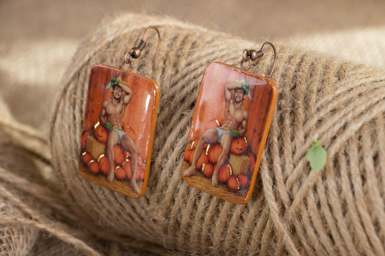 Polymer clay earrings Pumpkin Carver photo 4