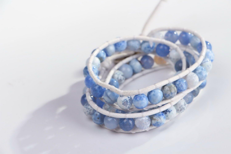 gemstone bracelets Bracelet made of agate and lather - MADEheart.com