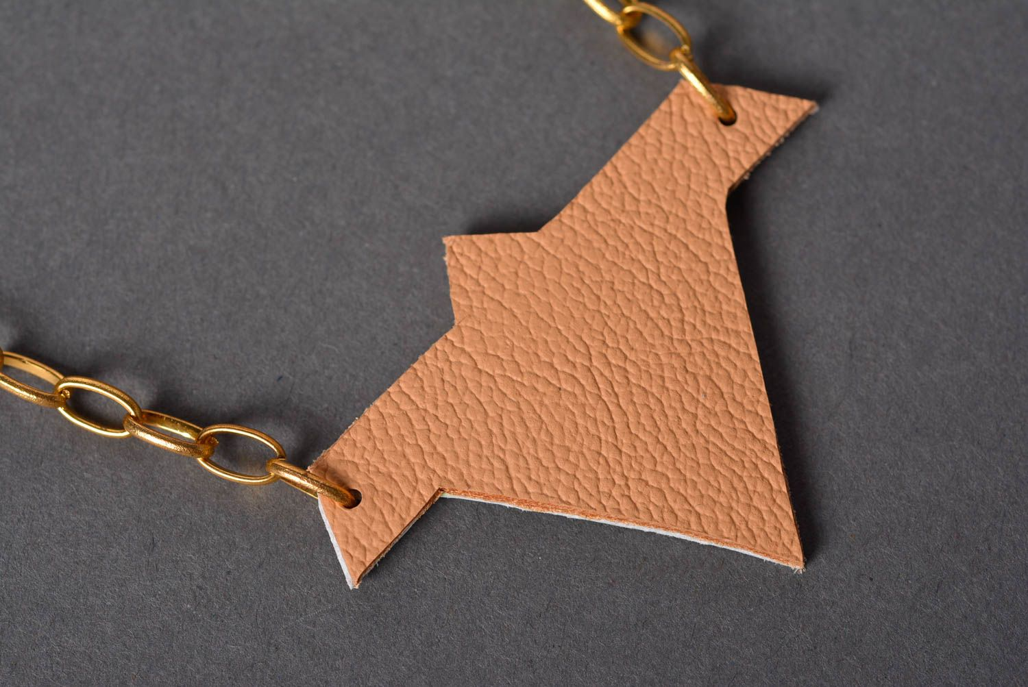 Handmade leather pendant necklace cool neck accessories artisan jewelry photo 4