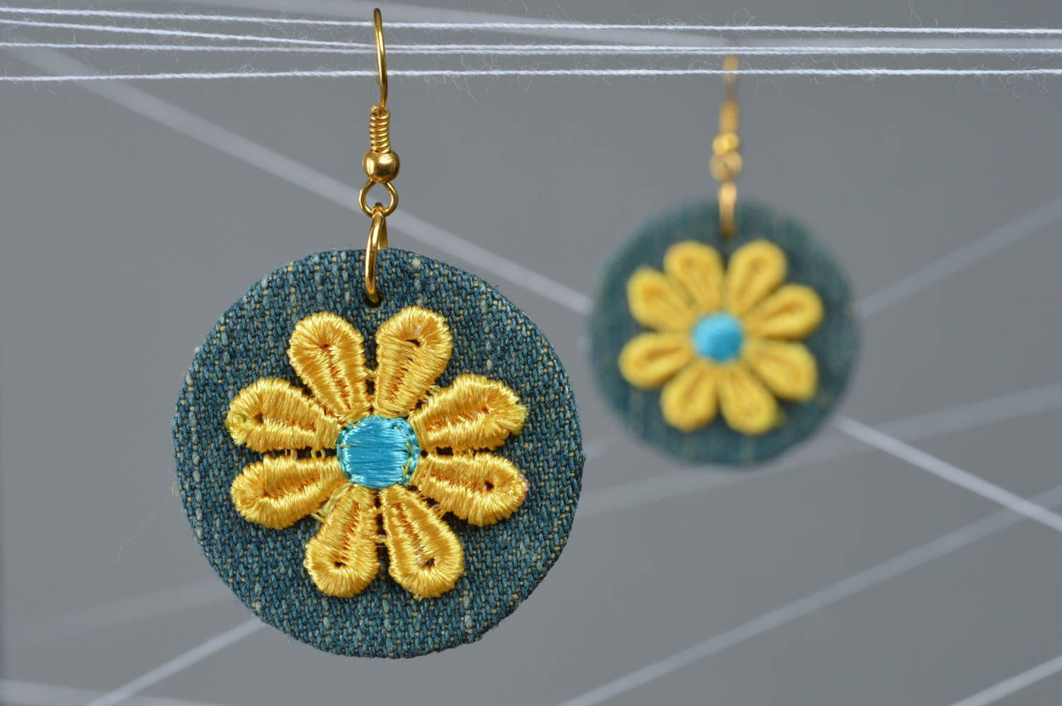 Beautiful small handmade designer fabric round earrings with applique photo 1