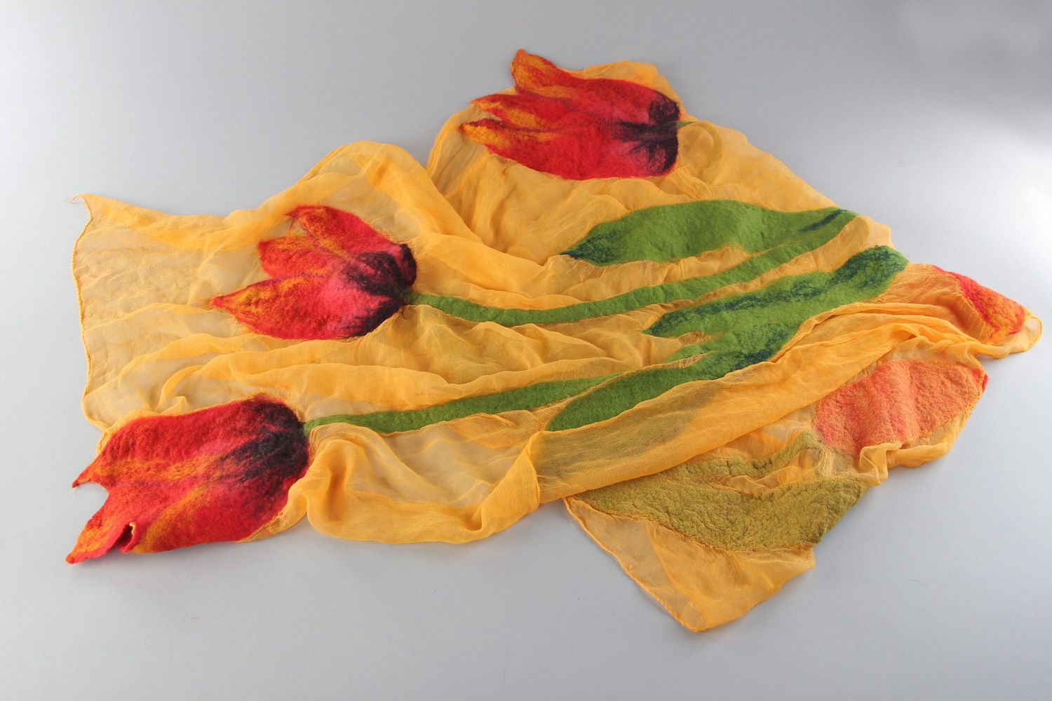 Yellow thin scarf hand made of silk and chiffon with felted wool flowers  photo 1