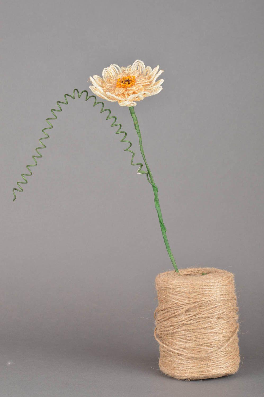 Handmade decorative flower woven of Chinese beads Cream Gerbera photo 2