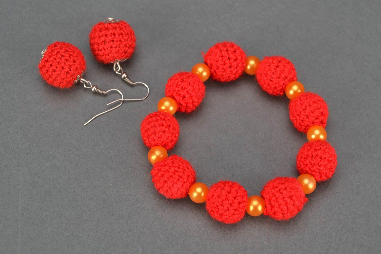 Crochet jewelry set: earrings, necklace and bracelet photo 3