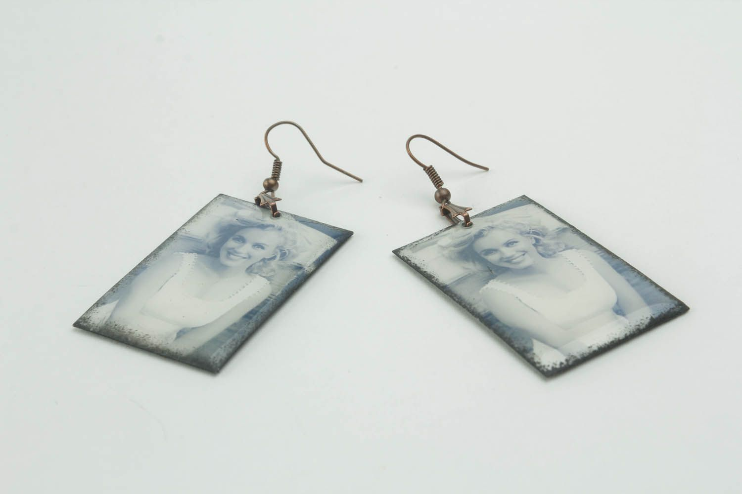 Rectangular earrings with photo print photo 3