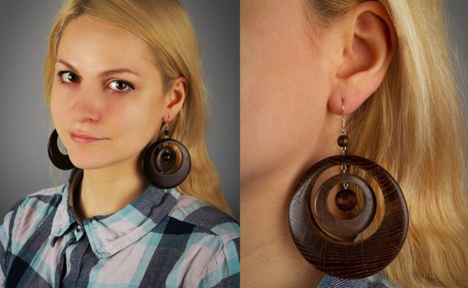 Earrings made of natural wood photo 2