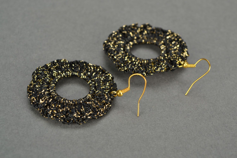 Black crochet earrings photo 1
