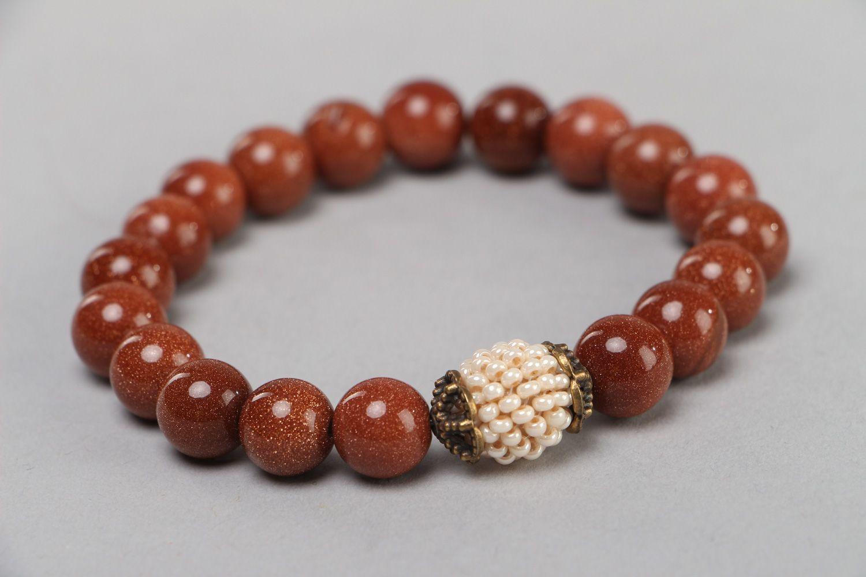 Handmade beautiful wrist bracelet with aventurine stone and Czech beads for women photo 1