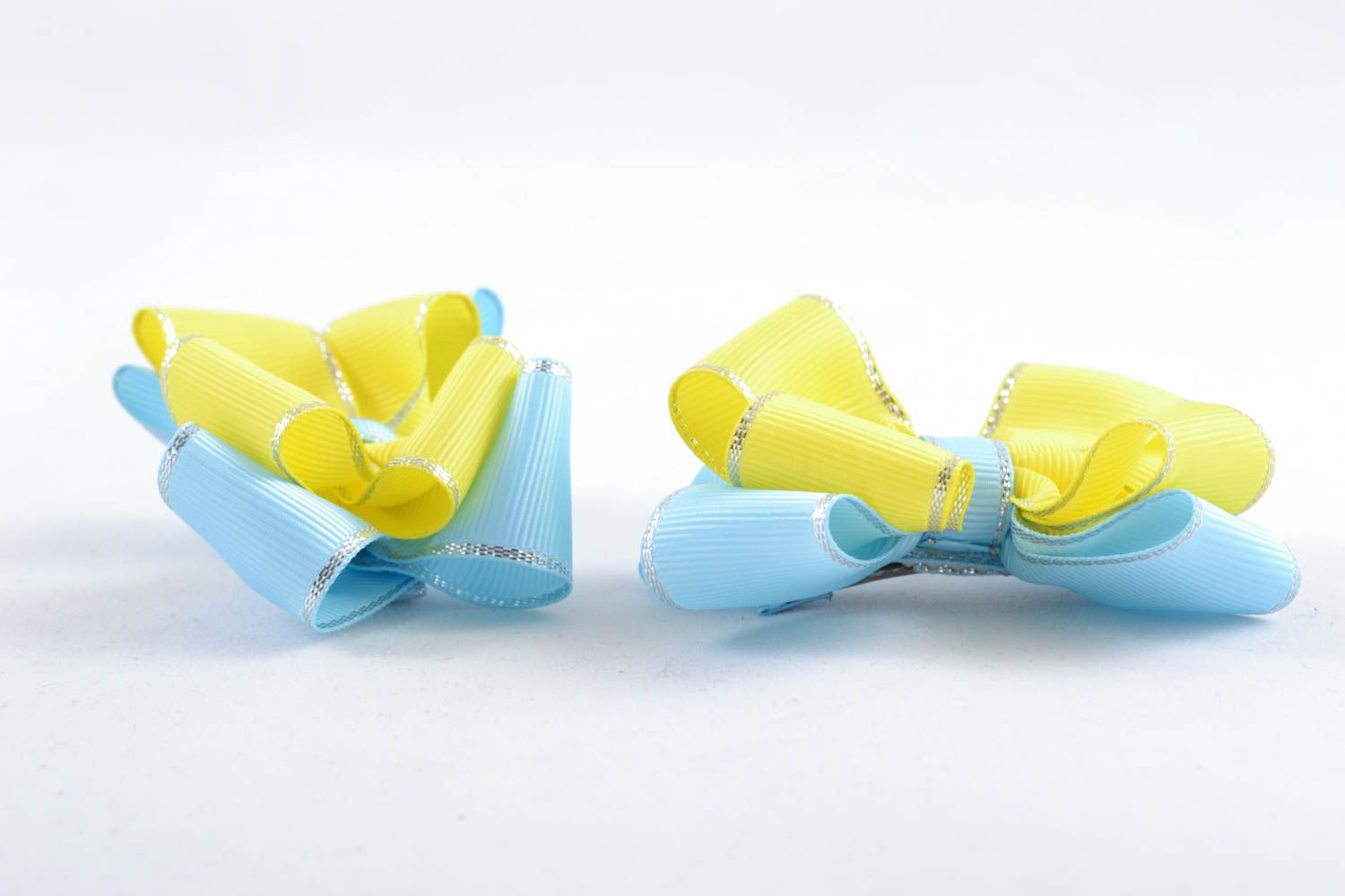 Homemade hair clip Yellow and Blue photo 2