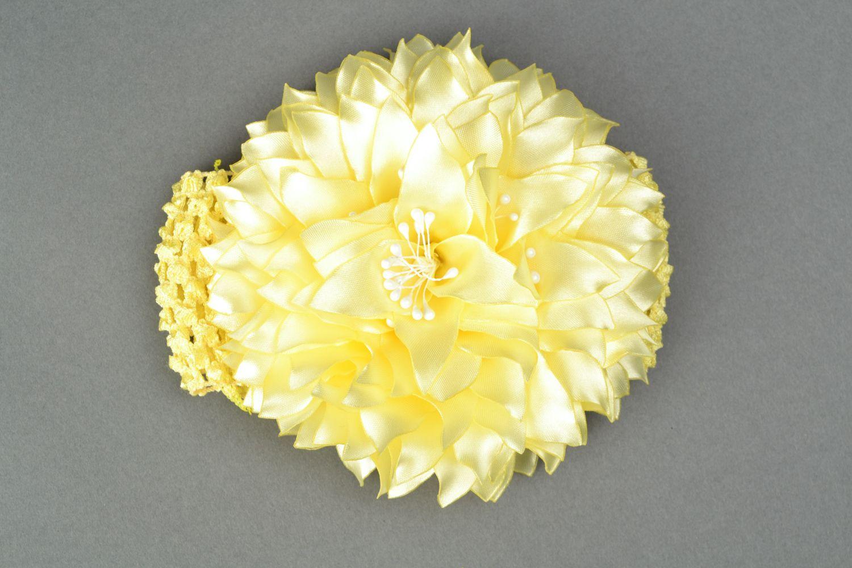 Satin ribbon flower hair strap Dahlia photo 1