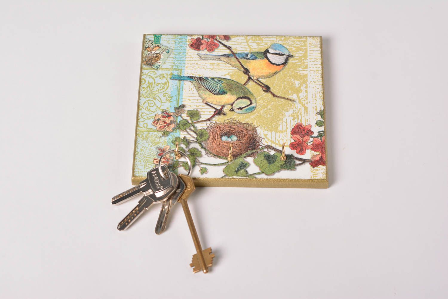 Attractive Hangers And Coat Racks Square Wall Handmade Key Holder Made Of MDF With Decoupage  Home Decor