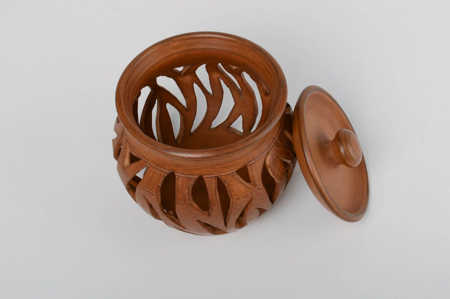 Brown handmade designer large terracotta clay aroma lamp with lid photo 3