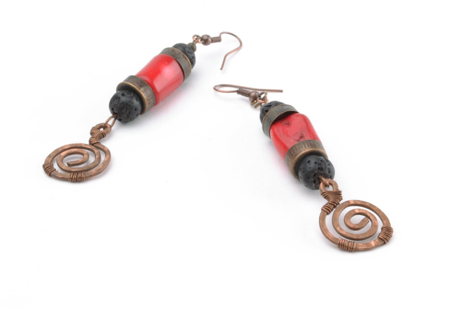 Copper coral earrings Salome photo 4