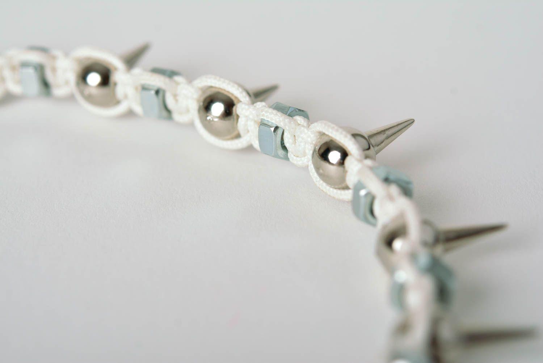 Spike necklace handmade necklace macrame necklace handmade thread jewelry  photo 5