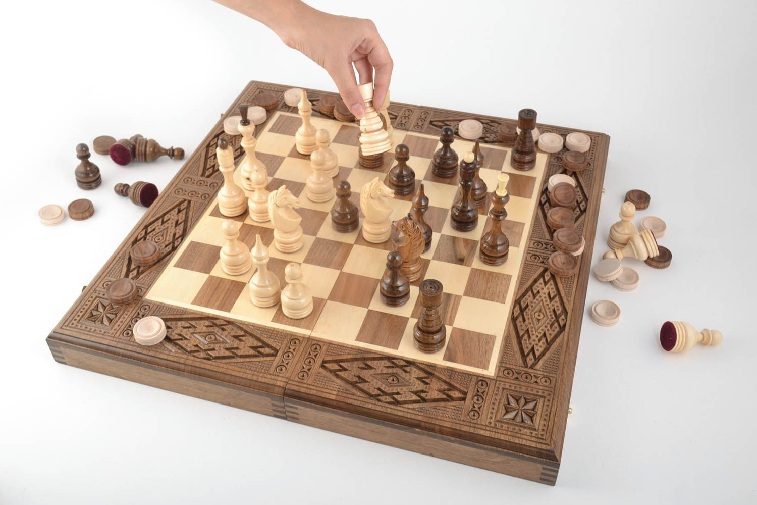 Handmade board games wooden chessboard chess pieces best gifts for him photo 5