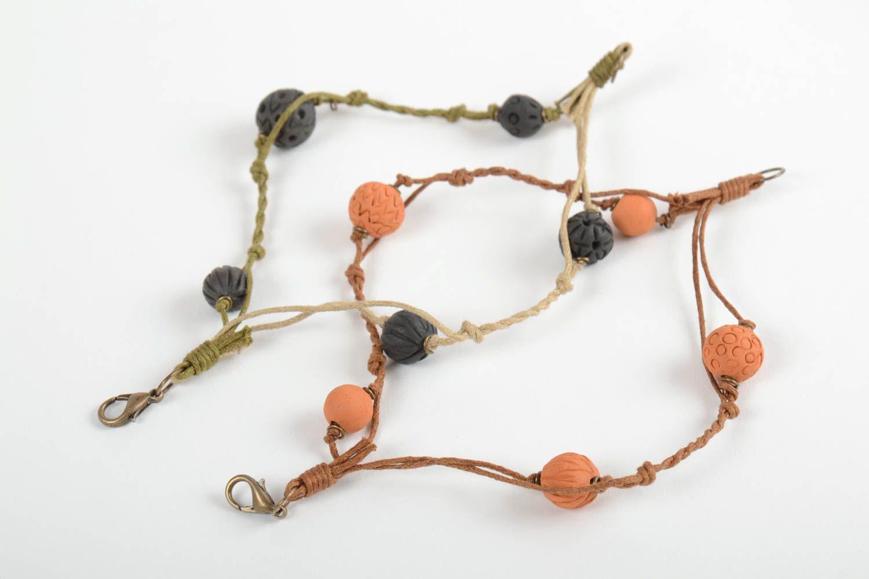 Set of 2 handmade woven bracelets wrist bracelets with clay beads jewelry trends photo 5