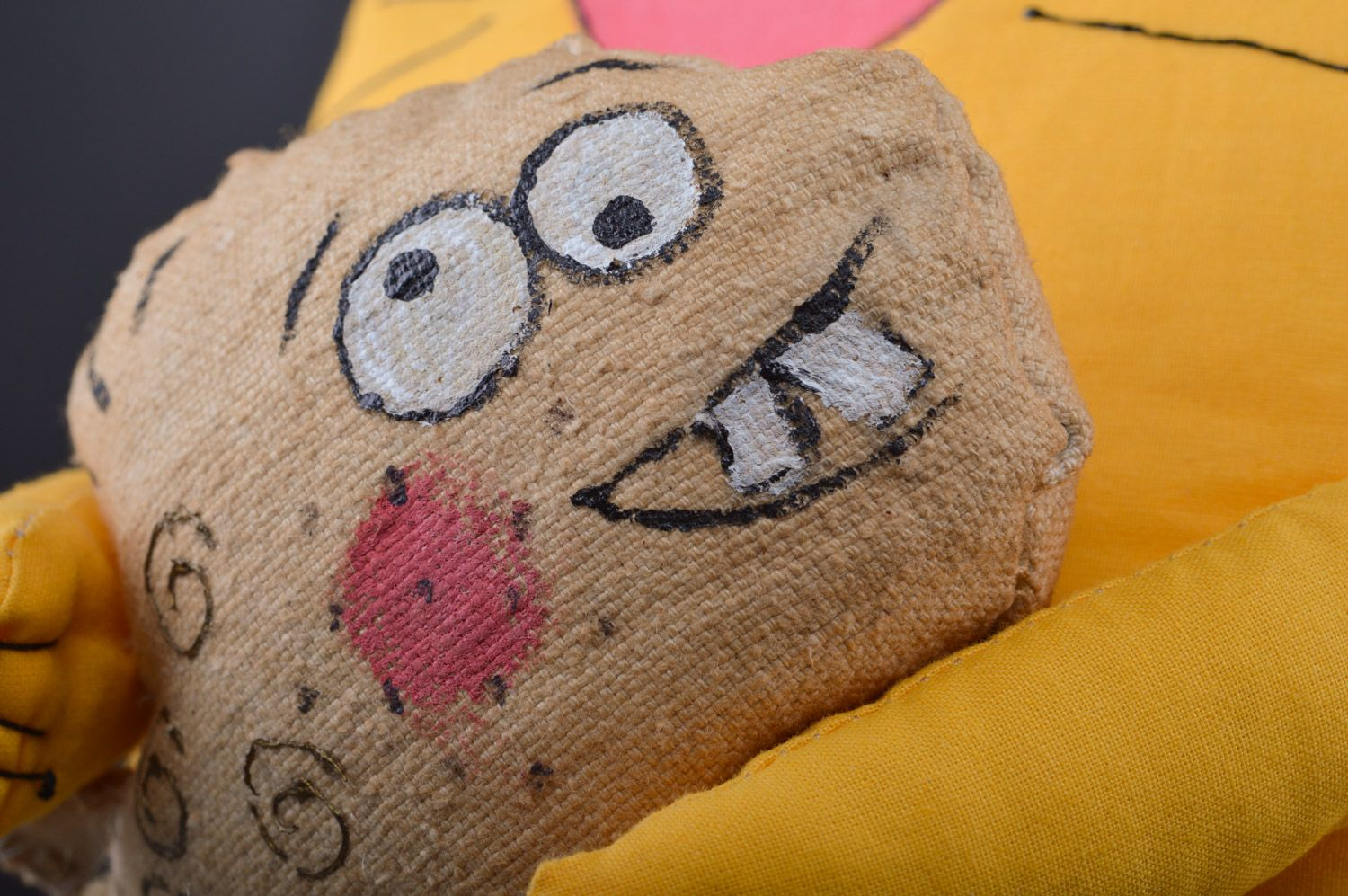 Large handmade aroma sachet pillow yellow toy cat with herbs inside photo 3