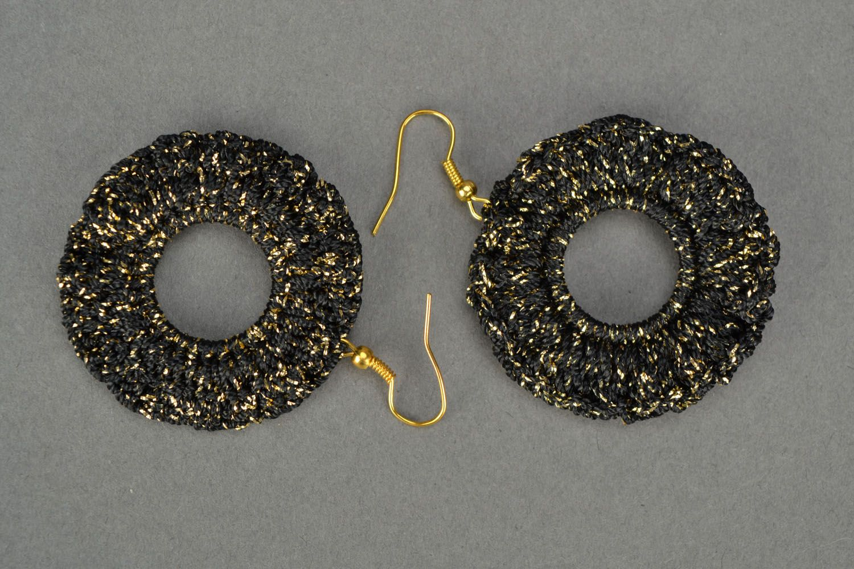 Black crochet earrings photo 3
