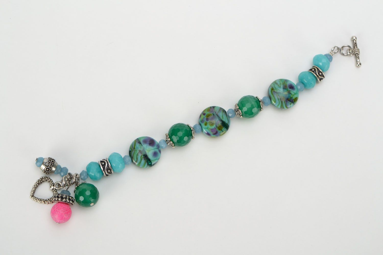 gemstone bracelets Bracelet with aquamarine and agate - MADEheart.com