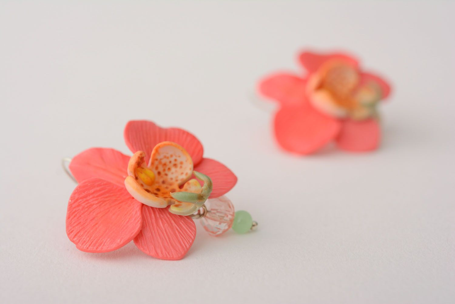 Polymer clay earrings Orchids photo 4