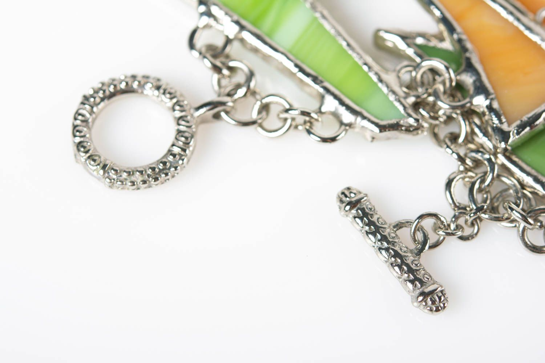 Handmade colorful glass and metal wrist bracelet designer for women photo 7