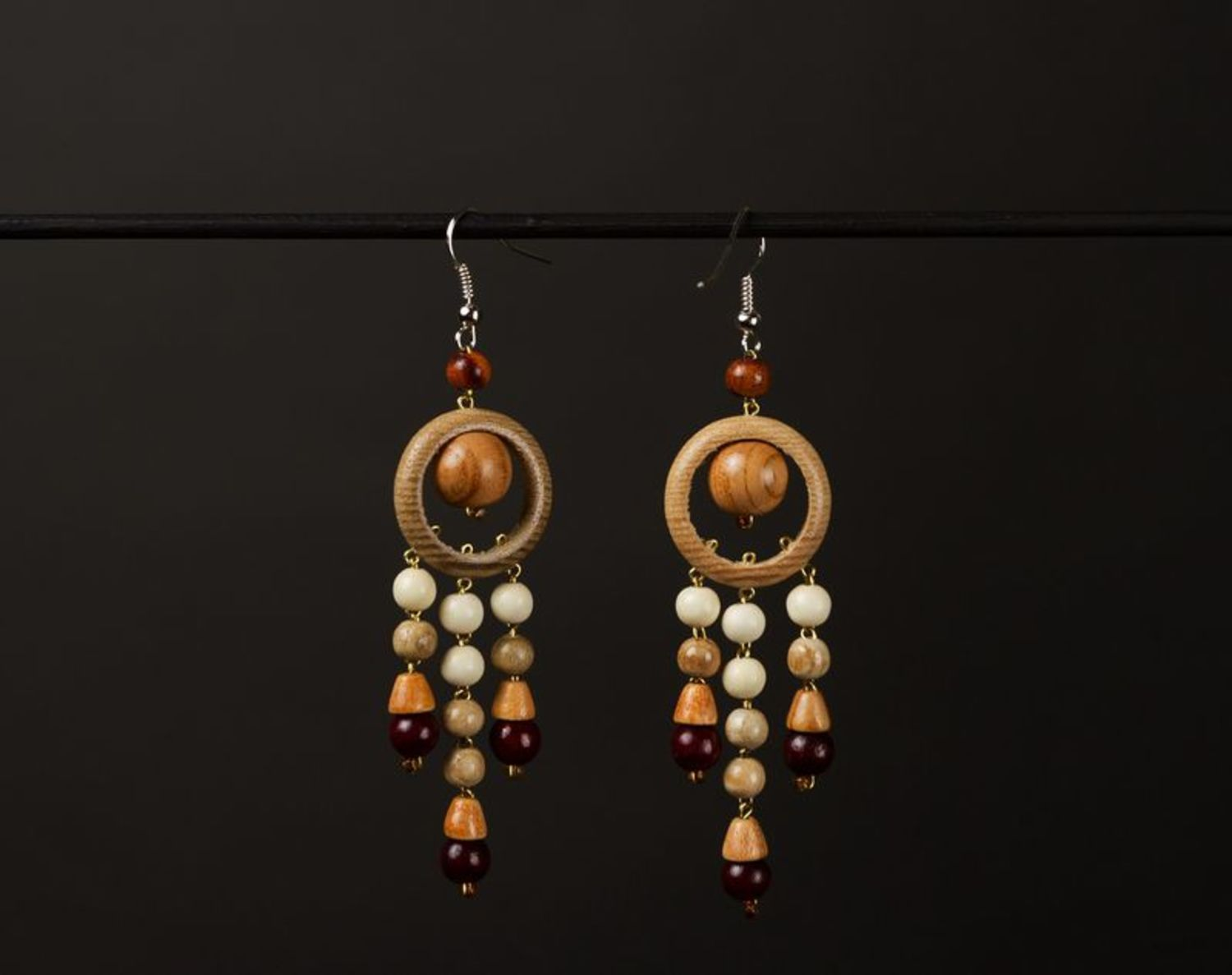 Earrings made of wood photo 1