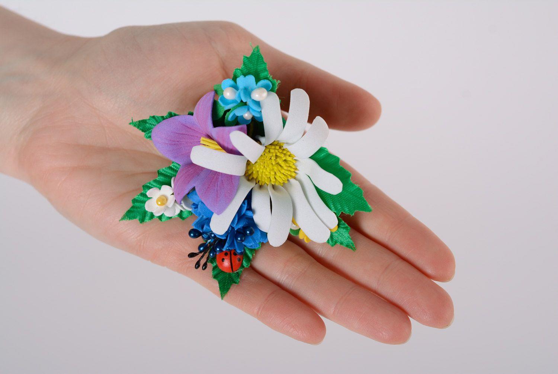 Set of handmade women's foamiran flower scrunchies in the shape of flower bouquets 2 items photo 3
