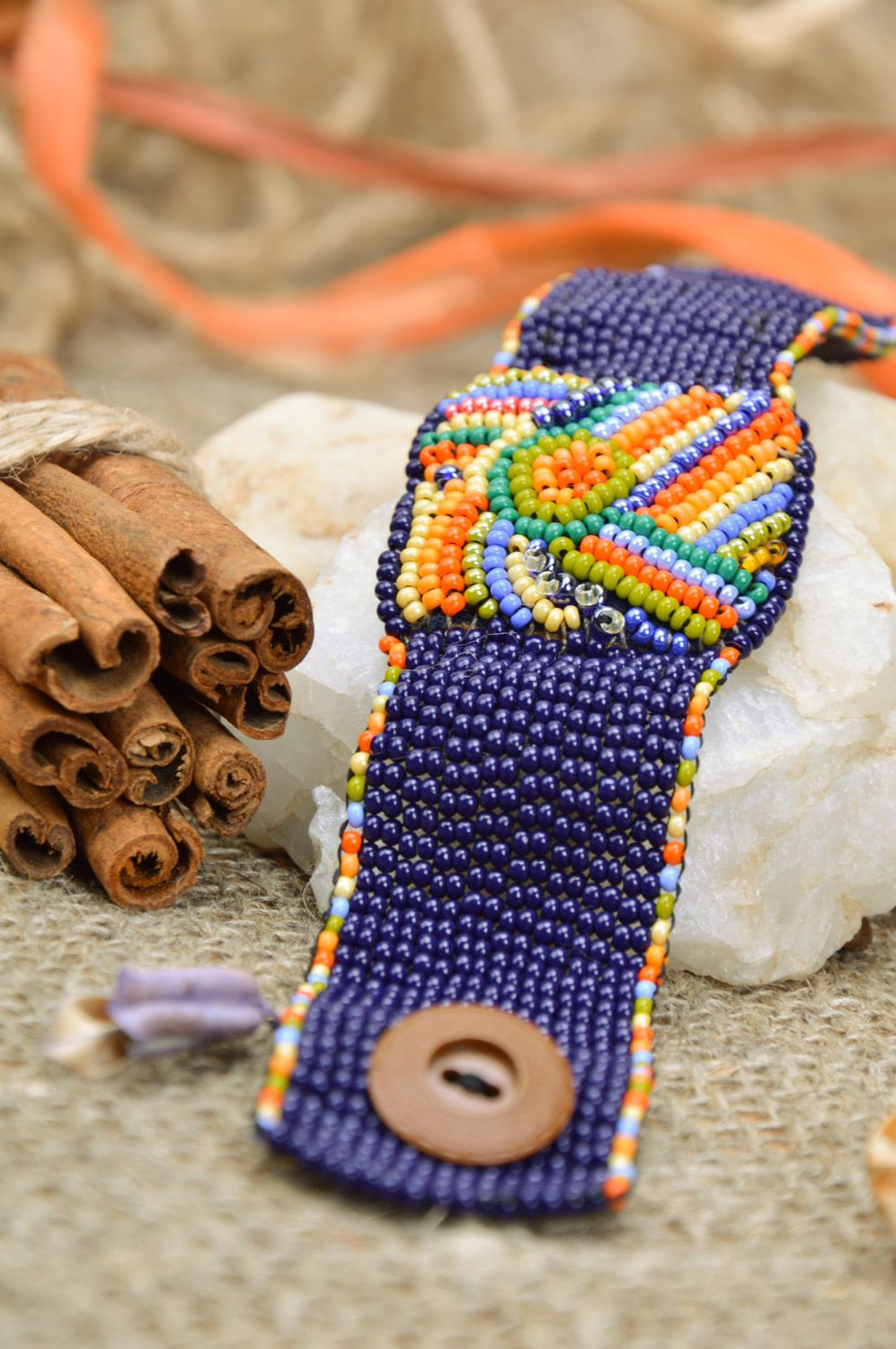 Bright handmade wide woven bead necklace on leather basis photo 1