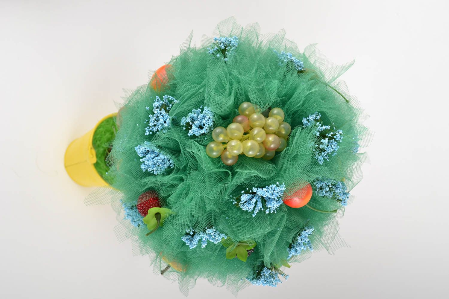 Topiary made of tulle with decorative fruits handmade tree of happiness photo 5