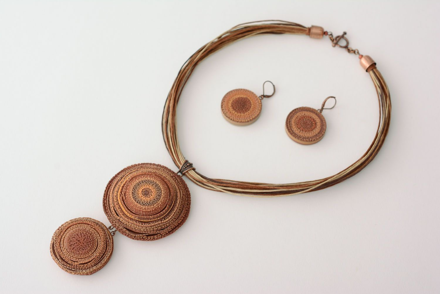 Polymer clay jewelry set Wooden photo 2