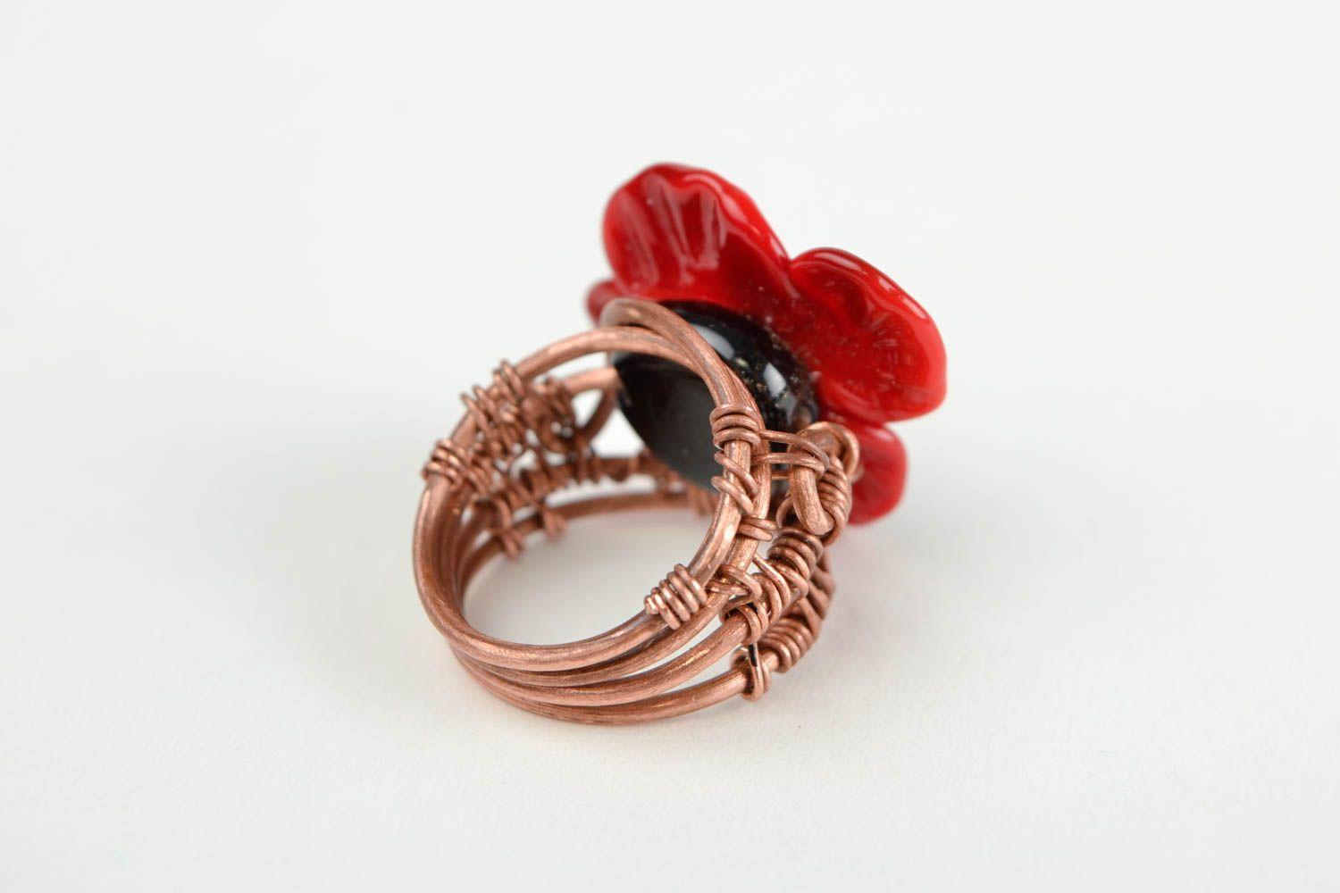 Handmade ring designer accessory gift for her unusual ring with flowers photo 5