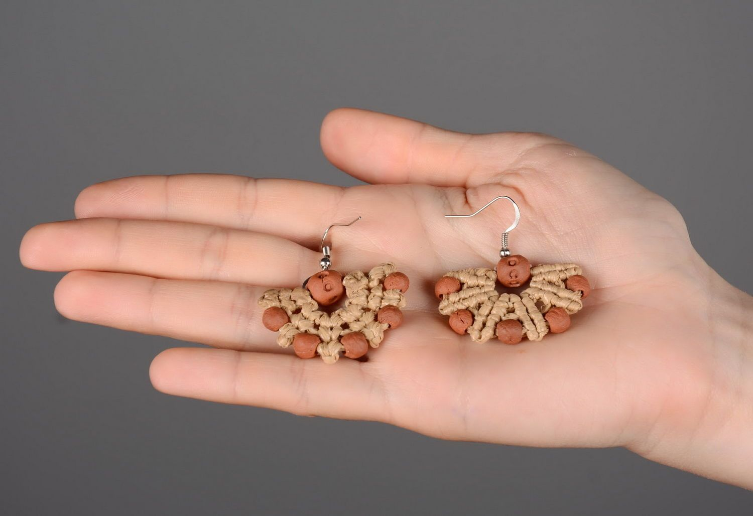 Earrings made of red clay photo 5