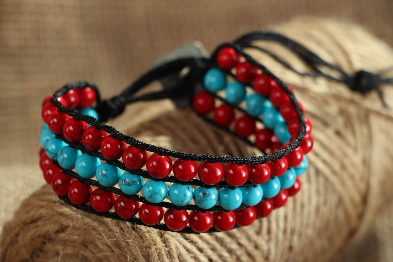Woven bracelet with coral and turquoise photo 5