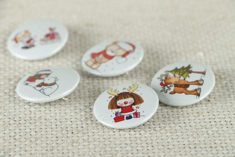Набор детских значков на Рождество  фото 2