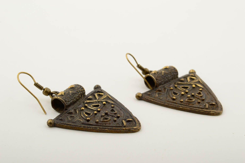 Beautiful handmade metal earrings stylish bronze earrings artisan jewelry photo 4