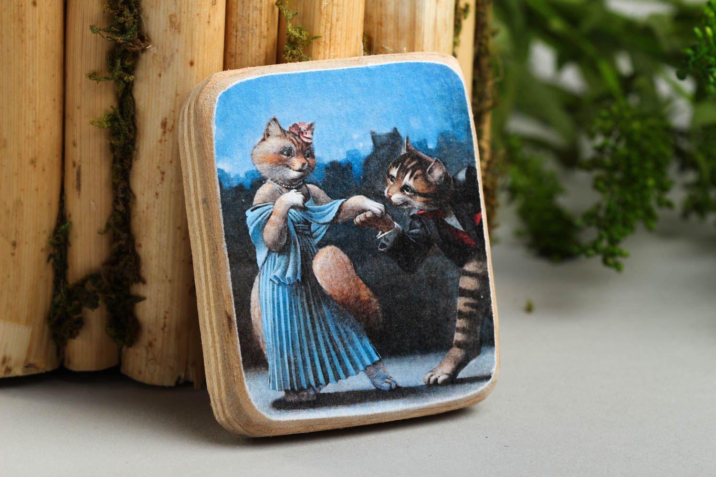 Handmade romantic fridge magnet wooden interior element decorative use only photo 1
