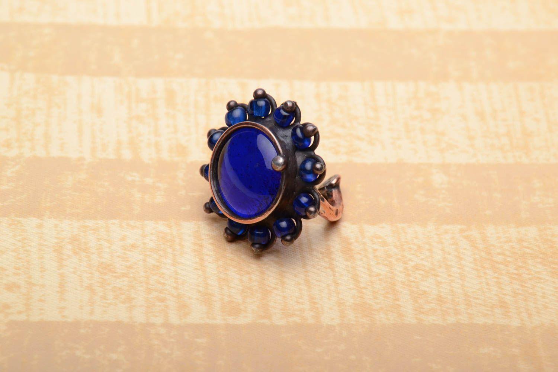 Kupfer Ring mit blauem Glas foto 1