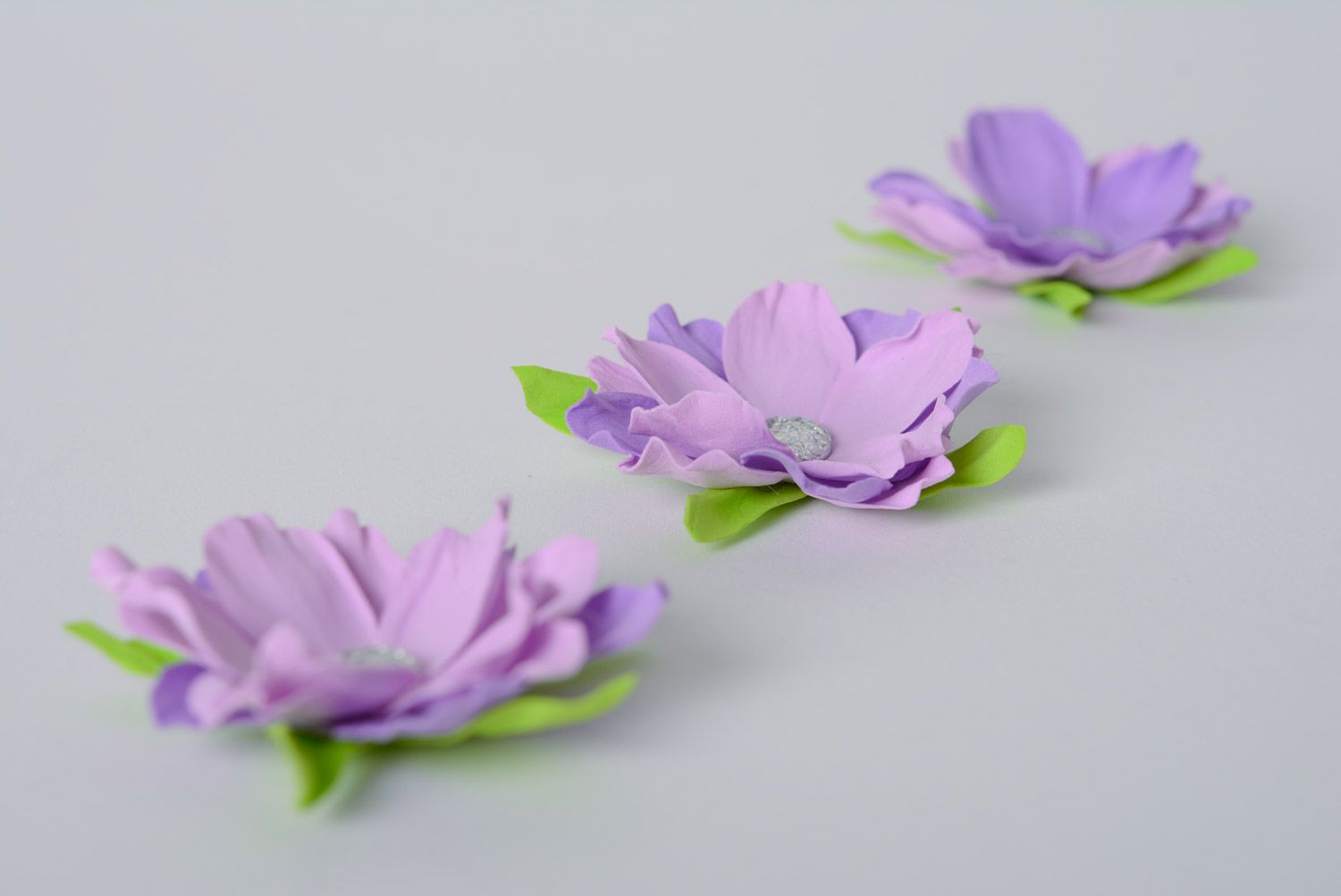 patches for clothes Handmade beautiful foamiran flowers set of 3 pieces with rhinestones of purple color for decor - MADEheart.com