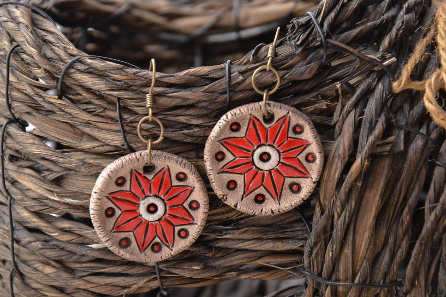 Ceramic earrings with charms photo 1