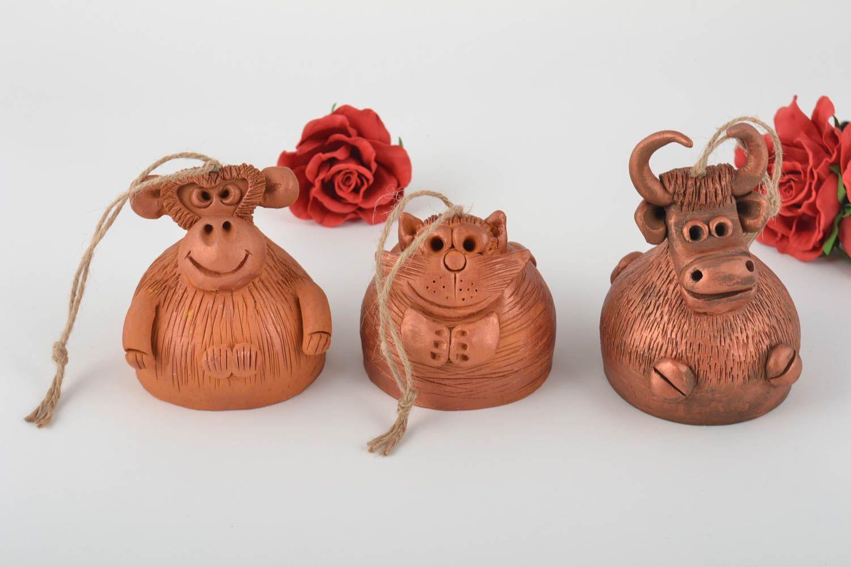 Set of 3 handmade designer molded clay bells for interior decor photo 1