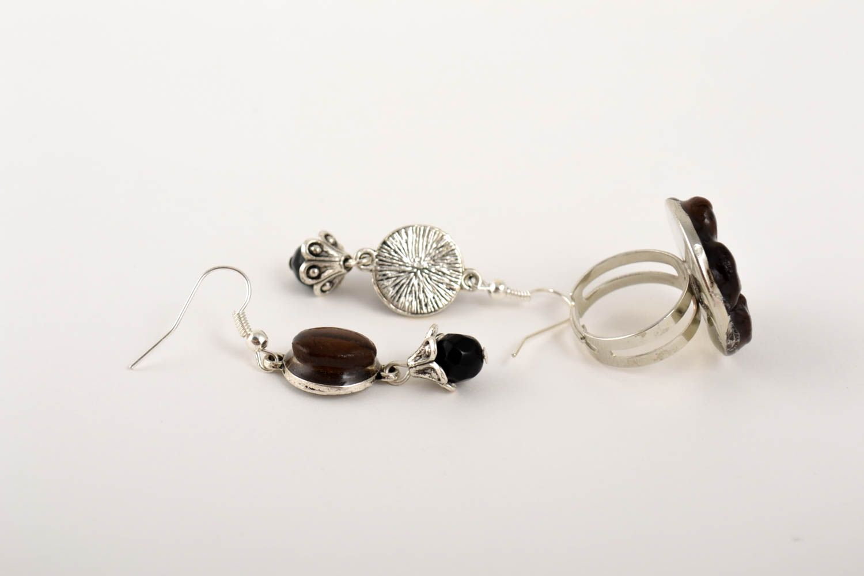Unusual handmade epoxy earrings epoxy ring gemstone jewelry set handmade gifts photo 2