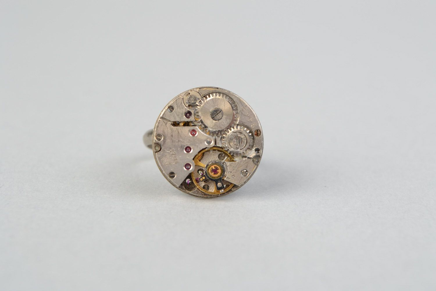 watches Handmade small round women's seal ring with clock mechanism in steampunk style - MADEheart.com