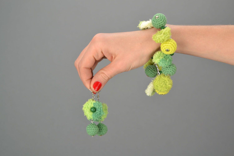 Homemade crochet jewelry set Jade photo 2