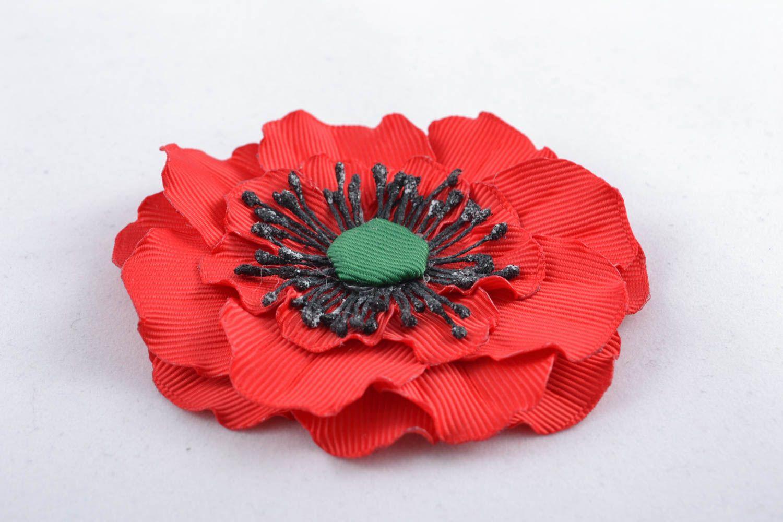 Ribbon flower for hair clip Poppy photo 1