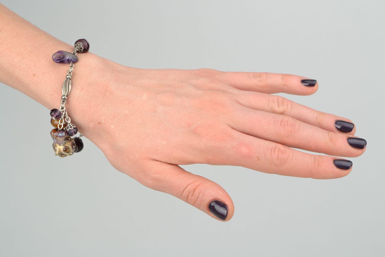 Wrist bracelet with lampwork glass beads Peacock Eye photo 3