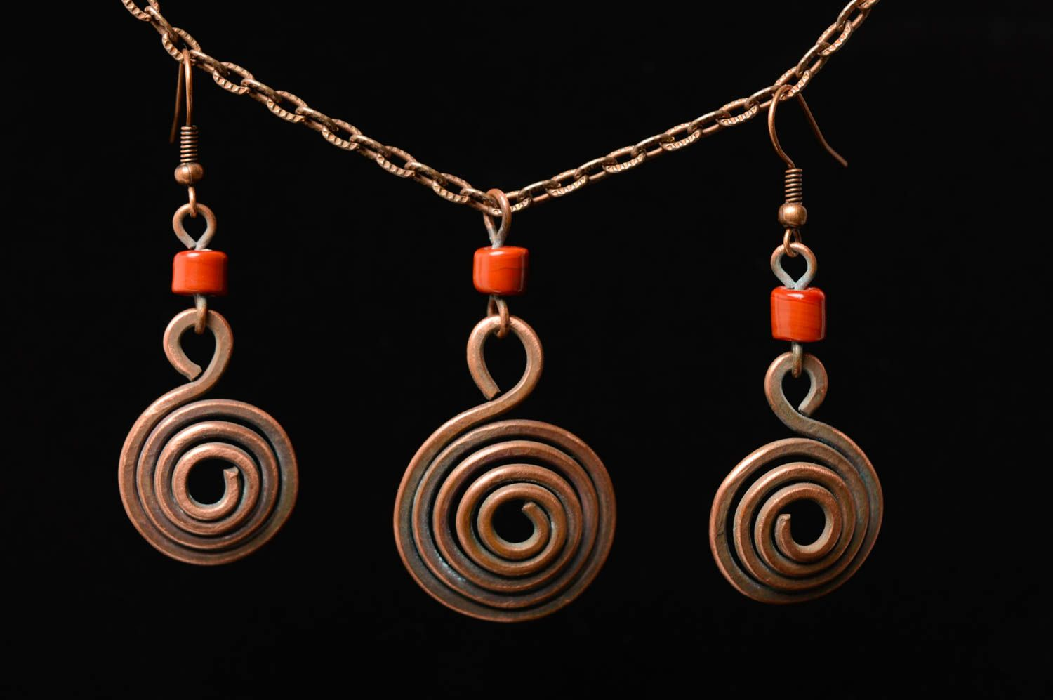 Wire wrap copper jewelry set of earrings and pendant Dunes photo 5
