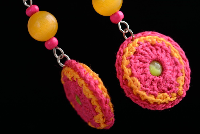 Homemade crocheted over earrings photo 2