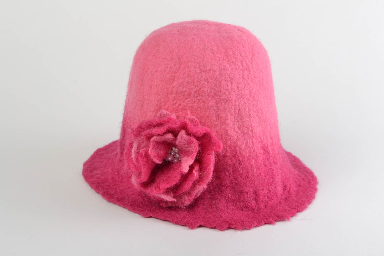 Pink handmade hat for sauna made of natural wool wet felting technique photo 1