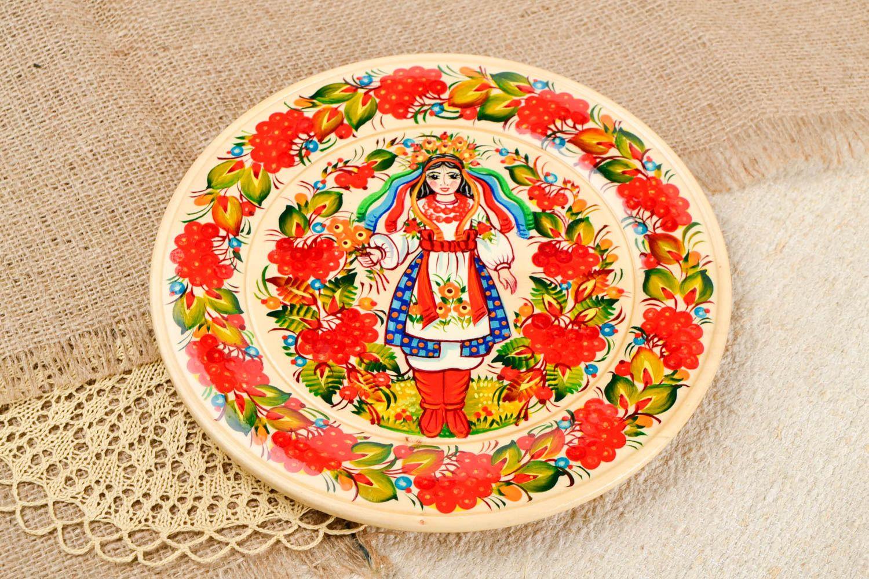 Декоративная посуда ручной работы деревянная тарелка настенный декор с росписью фото 1