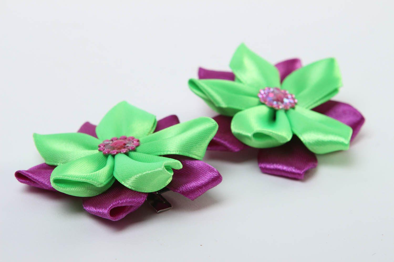 Заколки канзаши ручной работы детские украшения аксессуары для волос яркие фото 3